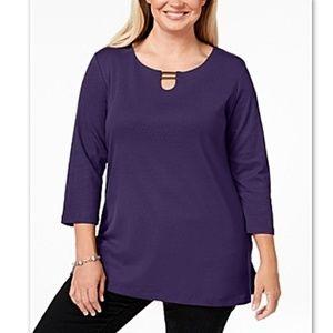 Karen Scott Macy's Plus Hardware Tunic Purple NWT!